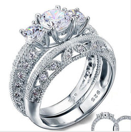 Wholesale Ct Wedding Bands - Vintage Style Victorian Art Deco 1.5 Ct Created Diamond Solid Sterling 925 Silver 2-Pcs Wedding Engagement Ring Set