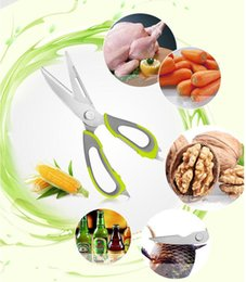 Wholesale Stainless Steel Fishing Knives - Kitchen scissors knife for fish chicken household stainless steel multifunction cutter shears free shipping with magnetic cover