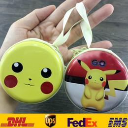 Wholesale Headphones Cartoons - New Poke Pikachu Coin Purses Cartoon Round Iron Mini Wallets Zipper Key Headphone Holder Bags XMAS Toys Gifts HH-P02