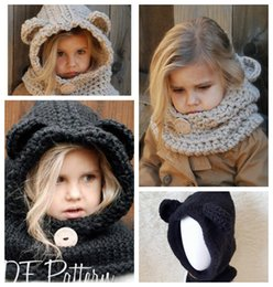 Wholesale Cute Wool Beanie - Child's Winter Wool bear Cloak Scarf Hat Hooded Scarf Earflap Knitted Warm Cap Knitted Cute Bear Scarf Caps Knitted Beanie Hat KKA3455