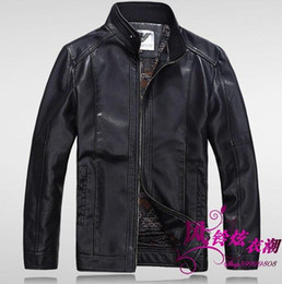 Wholesale Genuine Leather Jacket Men Brown - Fall-Free shipping hot sale 2015 Men goats Phi clothing leather stand-up collar leather jacket thick plus suede leather jacket