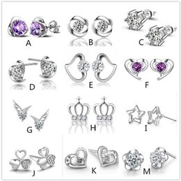 Wholesale Earring Heart Small - Mix style 925 silver plated earrings natural crystal wholesale fashion small silver jewelry for women heart crown stud earrings