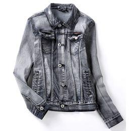 Wholesale Gray Denim Jacket Men - 9 Size S to 6XL Big Size Men Denim Jacket Grey Jean Jacket Long Sleeve Unique Color for Autumn