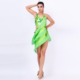 Wholesale Tango Dresses For Dance - limited offer green Latin dance dress set for performance women rose sequins tassel tango rumba samba dance competition cotumes
