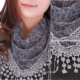 Wholesale Black Triangle Shawl - New fashion Lace scarf women Sheer Floral Print silk scarf Hollow triangle pendant scarves shawls & Wrap