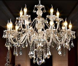 светодиодные лампы Скидка Главная античный Led коньяк хрустальная люстра E14 лампа led подсвечник подвесные светильники большой роскошный отель Вилла led изменение лампы lamparas