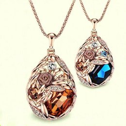 Wholesale Teardrops Chain Crystal Necklace - Fashion Flowers Luxury Big Gem Crystal Wheat Pendant Necklace Large Teardrop Dangle Charm Necklace Women Fashion Sweater Chain Long Necklace