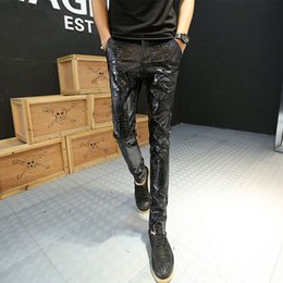 Wholesale Leather Pants Man Black - Wholesale-2016 New Hot Motorcycle Leather Joggers Fashion Mens Punk Drapped Printed Pants Cool Skinny Faux Leather PU Pants For Men
