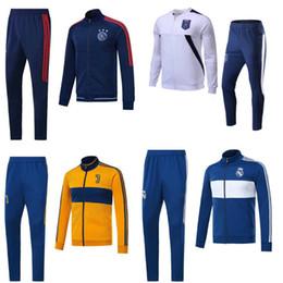 Wholesale Club Sportswear - Best Quality 17 18 Club American Jacket Football Shirt Long Sleeve Men Sportswear AC Milan Real Madrid Ajax Jacket Uniform kits