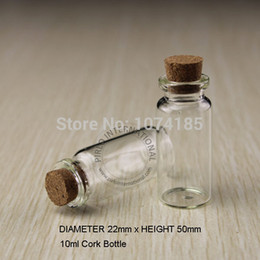 Wholesale Wholesale Decorative Containers - 24Pcs Lot 10ml Small Glass Perfume Bottles Vials With Cork Decorative Stopper Mini Wishing Bottle Container For Pendants