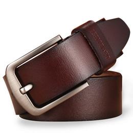 Wholesale Vintage Jeans Men - leather belt men male genuine leather strap luxury pin buckle fancy vintage jeans cintos masculinos ceinture homme