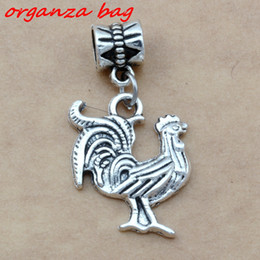 Wholesale Cock Big - MIC 100pcs Dangle Ancient silver alloy Single-sided cute cock Charms Big Hole Beads Fit European Charm Bracelet Jewelry A-105a