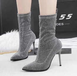Wholesale Thin Black Tube - Korean version of the fashionable high-heeled boots with thin elastic thin boots in the tube stovepipe women's boots