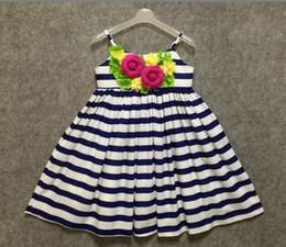 Wholesale White Sling Dress - Girls Dress Stripe Summer dresses with florwer sleeve less sling dress girls clothing 100% cotton 5 p l