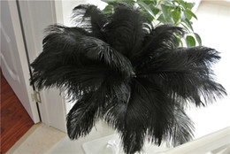 Wholesale black plumes - 50pcs black Ostrich Feather Plume for Wedding centerpiece christmas feather wedding home festive table decor party supply