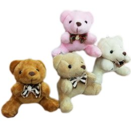 Wholesale Wholesale Bearing House - Bulk 40pcs x 2.8inch(7cm) Plush Teddy Bears Small Tiny Miniature Doll House Craft Sitting Bear With Bow