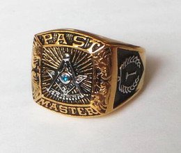 Wholesale Mason Rings Men - Fashion Freemason Masonic Symbols Ring for Men Master Mason Signet Ring Stainless Steel Gold Customer Ring Design