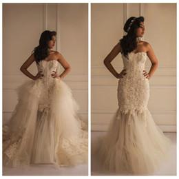 Wholesale Strapless Big Long Wedding Dresses - 2016 Sweetheart Lace Mermaid Wedding Dresses Strapless Sleeveless Yasmine Yeya Bridal Dress With Detachable Train Long Big Wedding Gowns