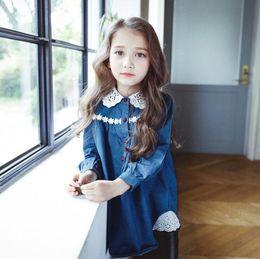 Wholesale Denim Girl Shirts - 2017 Wholesale Girls Denim Shirt Lace Fashion Good Quality Long Sleeve Korean Style Girls Blouses Z907
