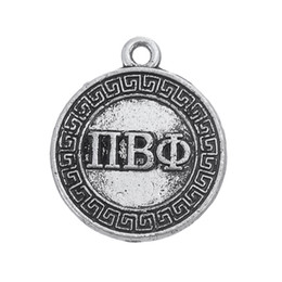 Wholesale Pi Jewelry - Myshape Charms Jewelry Greek letter PI BETA PHI circle charm silver plated the pendant for bracelets necklaces