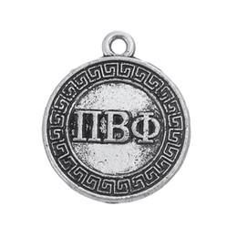Wholesale Pi Pendant - Myshape Charms Jewelry Greek letter PI BETA PHI circle charm silver plated the pendant for bracelets necklaces