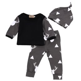 Wholesale Baby Boy Trouser Grey - ins Baby boy clothes T-shirt pants hat printed deer triangle dot pattern black and grey clothing set cotton top trousers casual suit