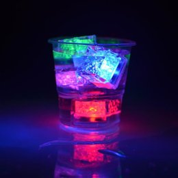 Wholesale Light For Drinking Bar - Cheapest Christmas Decoration Flash Ice Cube WaterActived Flash Led Light Put Into Water Drink Flash Automatically for Party Wedding Bars