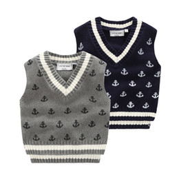 Wholesale Baby Knitting Vests - 2016 quality boys jacquard knitted vest Baby clothes kids anchor sweaters children Autumn winter Screw v-neck cotton knitwear 90-130cm