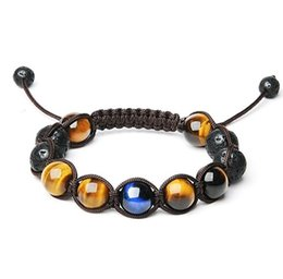 Wholesale Mens Braided Bracelets - Mens 12mm Natural Lava Stones and Hawk's Eye Bead Handmade Adjustable Braided Bracelet