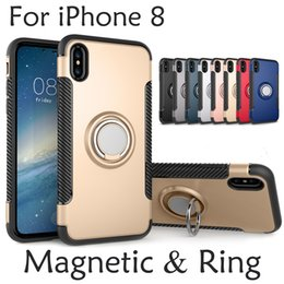 Wholesale Cases For Ring - Hybrid TPU+PC 2-in-1 Armor Case Shock-Proof Cases 360 Ring Stand Holder Magnetic Back Cover For iPhone X Samsung S8 Plus S7
