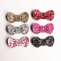 Wholesale New Hair Clips Style - New Korean Style Princess Baby Girls Glitter Felt Hair Clips Bows 7cm Hair Bows Gold Silver Toddlers Barrettes 20pc lot Hairpins