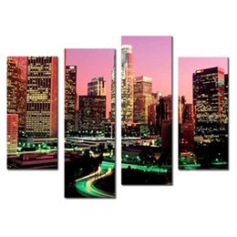 Wholesale Nice Cities - Wall Art Painting Los Angeles With Nice Night Scene Prints On Canvas The Picture City Pictures Oil For Home Modern Decoration Print Decor