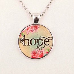 Wholesale Pictures Faith - Wholesale Glass Art Picture Necklace Faith Believe Hope Necklace Religious Christian Jewelry Round Glass Necklace