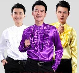 Argentina Camisa de vestir de diseño informal elegante de lujo de la moda de los hombres Camisa de boda de la camisa de manga larga de moralidad cultivar uno, camisa de baile brillante LLK35 Suministro