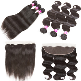 Wholesale Cheap Remy Body Wave - Hot Sale Brazilian Virgin Hair Extensions Body Wave Frontal and Bundles 3pcs with 13x4 with Lace Frontal Closure Cheap Remy Human Hair Weave