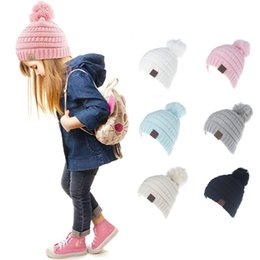 Wholesale Soft Soccer Balls - CC Winter Beanie with Soft Ball 6 Candy Colors Kids Knitted Chunky Skull Caps Slouchy Crochet Hats