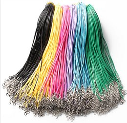 """Wholesale Twisted Cord Necklaces - Wholesale-Multicolor 200pcs 1.5mm Twisted Braided Rope Black Coffee Leather Cord Chain 20"""" Necklace Silver Clasp String Rope MN346"""