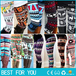 Wholesale Red Snowflakes - New hot Aztec Leggings For Women Stretchy Knit Christmas Snowflake Leggings Ankle Length Tribal Printed Casual Skinny Slim Legging