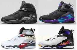 Wholesale Aqua Flats - 8 men basketball shoes Aqua black purple Chrome Playoffs red 3 Three Peat 2013 RELEASE 8s Athletic sports sneakers