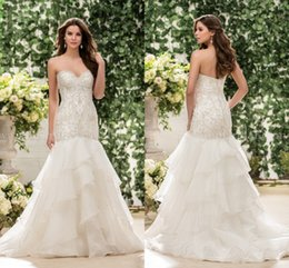 Wholesale Heavy Beaded Wedding Gowns - Luxury 2017 Jasmine Wedding Dresses Mermaid Lace Heavy Beaded Tiered Organza Skirts Beach Wedding Bridal Gowns vestido de novia