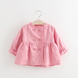 Wholesale Kids Western Coats - Everweekend Kids Ruffles Double-breasted Bow Jackets Coat Candy Color Lovely Children Clothing Western Fashion Baby Clothes
