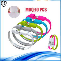 Wholesale Sharp Bracelets Wholesale - 10pcs Micro USB Cable Wristband Bracelet Quick Charge Sync Data Cable Lightning Charging Cable For Samsung Galaxy S6 LG HTC