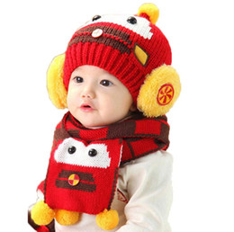 Wholesale Robot Scarf - Retail Baby Knit Beanies Bobbles Hat Set Robot Children Kids Knitted Caps and Scarf Warm 2 Pieces Suit Set MZ2267 Free Shipping