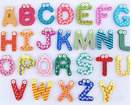 Wholesale Toy Magnets For Fridge - Children's Toys 26 Wooden Alphabet Fridge Magnets One Set have 26 pcs Puzzle toys for Kids Christmas gift