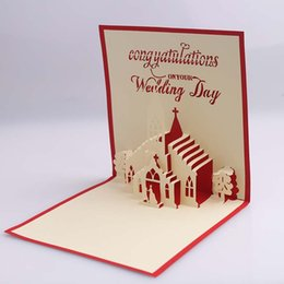 Wholesale Three Fold Wedding Invitations - Professional 3d Hollow Creative Design Wedding Invitations Hand-carved Three-dimensional Paper Greeting Cards Personalized Custo