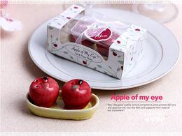 Wholesale Ceramic Salt Pot - 100sets Ceramic Red Apple Salt Pepper Shaker 2 Pcs  Set Love Apple Seasoning Pot Spice Jar Wedding Favors In Gift Box