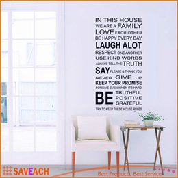Wholesale House Family Removable Wall Sticker - IN THIS HOUSE English DIY Wall Stickers Home Decor Living Room Sofa Wall Decals Home Decoration, WE ARE FAMILY Wallpaper