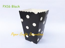Wholesale Movie Candy - Wholesale- 12pcs lot Black Polka Dots Paper Popcorn Boxes Candy Favor Bags Wedding Birthday Movie Night Party Supplies