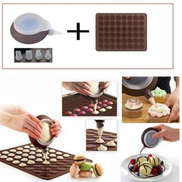 Wholesale Tips 48 - Macaron Silicone Mat mold 48 Hole Cake mold + Dessert decorate Tips Cream Squeezing silicone Nozzle Tool cake decorating tools