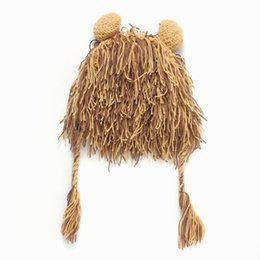 Wholesale Kid Hat Funny - Kid Boy Girl Wig Beard Hats Hobo Mad Scientist Rasta Caveman Handmade Winter Knit Warm Men Caps Gift Funny Party Lion Beanies